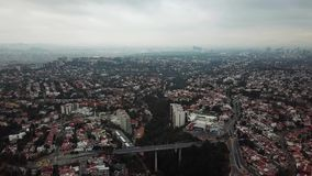 Aerial drone view of new residential area of Mexico City suburbs stock video