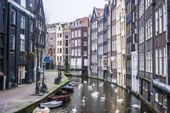 Huizen in Amsterdam Stock Foto