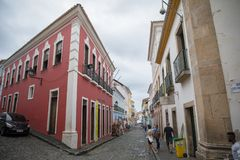 Huizen in beroemde stad in Bahia, Salvador - Brazilië royalty-vrije stock fotografie
