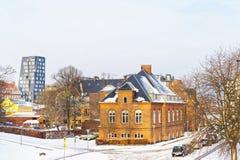 Huizen bij Langelinie-Parkpromenade in de winter Kopenhagen Royalty-vrije Stock Foto