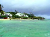 Huizen bij sea-shore Stock Fotografie