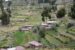 Huizen bij Taquile-Eiland, meer Titicaca peru Stock Foto