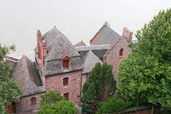 Huizen in de abdij van Saint-Michel Mont Royalty-vrije Stock Fotografie