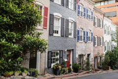 Huizen in de stad in Georgetown, Washington DC stock foto's