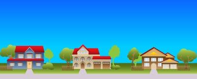 Huizen in de voorsteden in buurt Stock Foto
