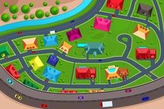 Huizen in in de voorsteden hierboven worden bekeken die van stock illustratie