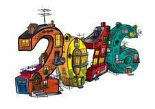 Huizen in de vorm van cijfers in 2016 Stock Afbeelding