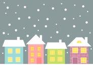 Huizen in de winter Royalty-vrije Stock Foto