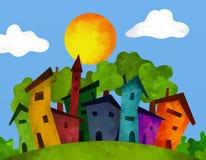 Huizen in de zomer Stock Afbeeldingen