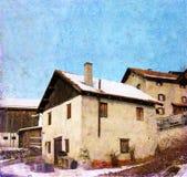 Huizen in de Zwitserse alpen Royalty-vrije Stock Afbeelding