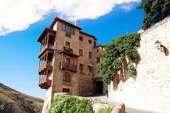 Huizen die (casascolgadas) worden gehangen in Cuenca, Castilla La Mancha, Spai Royalty-vrije Stock Foto