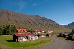 Huizen in een vallei in IJsland Stock Foto's