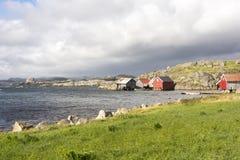 huizen in Eirersund Fyr Stock Afbeeldingen