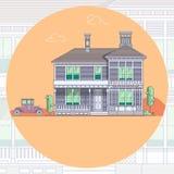 Huizen en auto lineart minimaal Element van stedelijke architecturale de bouwillustratie Royalty-vrije Stock Afbeeldingen
