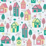 Huizen en bomen achtergrondillustratie Royalty-vrije Stock Afbeeldingen