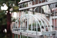 Huizen en de kooi van de vogel royalty-vrije stock afbeelding