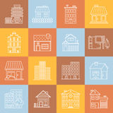 Huizen en gebouwen lineart minimale vector iconset op veelkleurige geruite textuur Royalty-vrije Stock Foto