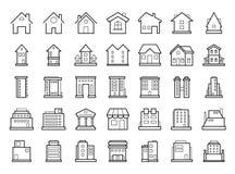 Huizen en Gebouwen Reeks overzicht moderne futuristische de bouwpictogrammen stock foto's
