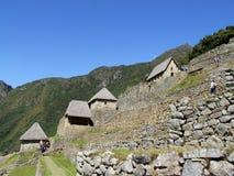 Huizen en hangende tuinen in Machu Picchu Royalty-vrije Stock Foto's
