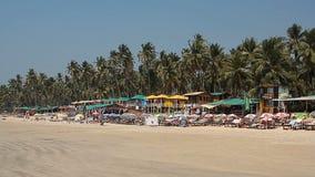 Huizen en hutten op het Palolem-strand stock videobeelden
