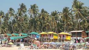Huizen en hutten op het tropische strand stock video