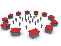 Huizen en mensen Royalty-vrije Stock Foto's