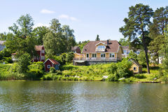 Huizen en milieu in Zweden. Stock Foto's
