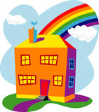 Huizen en regenboog Stock Foto's