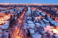 Huizen en straten in een de winternacht Royalty-vrije Stock Fotografie