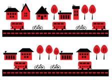Huizen, fietsen en bussen Royalty-vrije Stock Foto's