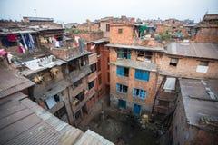 Huizen in het Centrale district van Bhaktapur Meer 100 culturele groepen hebben een beeld van Bhaktapur als Kapitaal van de Arts. Stock Afbeelding