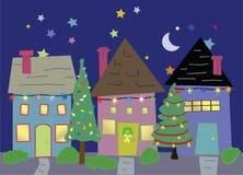 Huizen in Kerstmistijd Royalty-vrije Stock Afbeeldingen