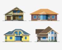Huizen 4 kleur Stock Afbeeldingen