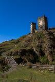 Huizen, landschappen en Svan-torens van Ushguli Stock Foto's