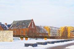 Huizen in Langelinie-Parkpromenade in de winter Kopenhagen Royalty-vrije Stock Afbeeldingen