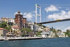 Huizen langs de Bosporus Turkije Royalty-vrije Stock Afbeeldingen