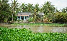 Huizen met de rivier in Ben Tre, zuidelijk Vietnam Stock Fotografie