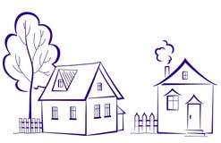 Huizen met een boom, pictogram vector illustratie