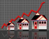 Huizen met rode grafieklijn Royalty-vrije Stock Afbeeldingen