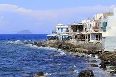 Huizen OA een kust van Nisyros-Eiland Stock Afbeelding