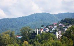 Huizen op de berg onder groen Stock Foto's