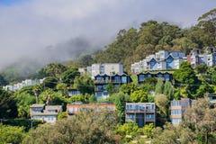 Huizen op de heuvels van Sausalito, baai de Noord- van San Francisco, Californië royalty-vrije stock foto's
