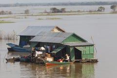Huizen op de Mekong rivier Stock Fotografie