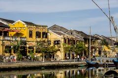 Huizen op de rivier, Stock Foto's