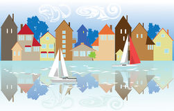 Huizen op de waterkant Royalty-vrije Stock Fotografie