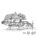 Huizen op een steen in het midden van het water met een met stro bedekt dak en een lange trap in een schetsstijl Stock Foto's