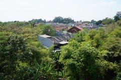 huizen op groen gebied op aard Stock Fotografie