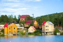 Huizen op het overzees Stock Afbeeldingen