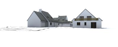 Huizen op het plan van de architect Stock Afbeeldingen