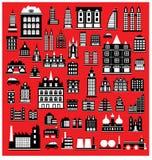 Huizen op het rood Royalty-vrije Stock Foto's